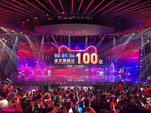 5억명 '광클릭'…알리바바 쇼핑축제 1시간에 16조원 돌파(종합)