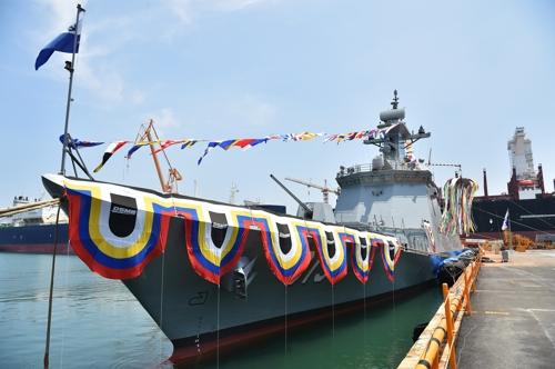 2천800t급 신형 호위함 '서울함' 진수…2021년 해군 인도(종합)
