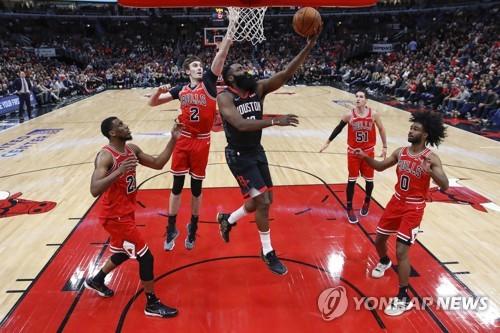 하든 42득점 '원맨쇼'…NBA 휴스턴, 시카고 꺾고 3연승