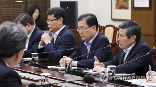 """NSC """"한일 외교채널 협의방향 논의…방위비협상 대책 점검"""""""