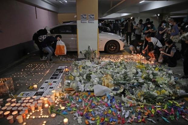 홍콩 시위대, 사망한 추락 대학생 추모 /사진=AP
