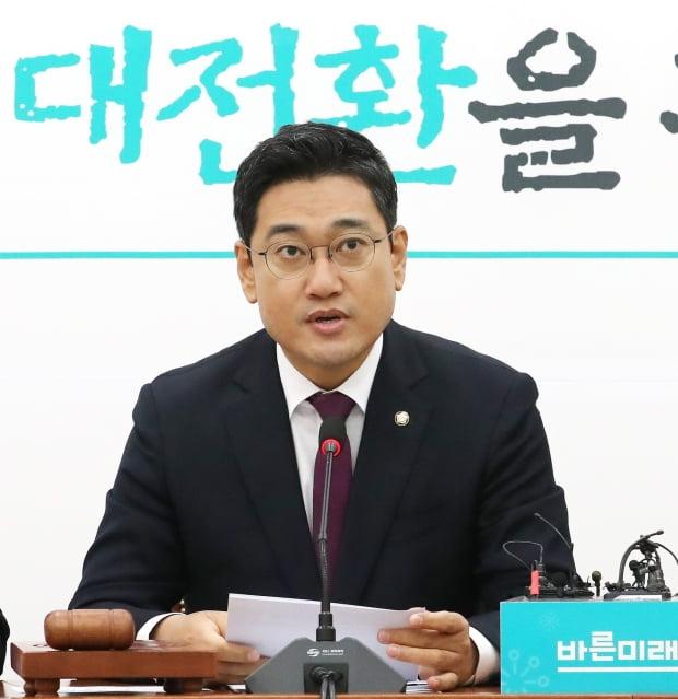 바른미래당 오신환 원내대표가 14일 오전 국회에서 열린 원내정책회의에서 발언하고 있다./사진=연합뉴스