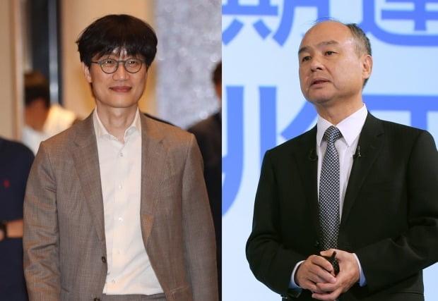 이해진 네이버 글로벌투자책임자(왼쪽)와 손정의 소프트뱅크회장/사진=연합뉴스