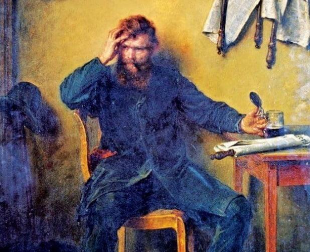 독일 화가 루드비히 크나우스(1829~1910)의 '우울한 사람'(1877년, 유화,82×61.5㎝). 독일 베를린 역사박물관 소장.