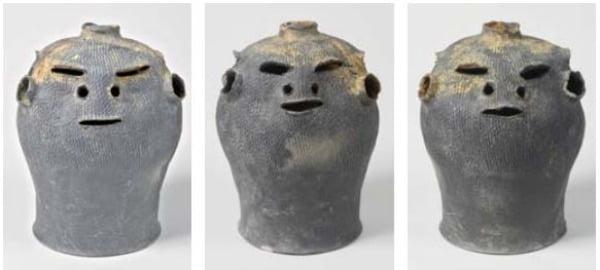 세 개의 면에 각기 다른 표정의 얼굴이 새겨진 5세기 신라시대 토기가 경북 경산 소월리 유적에서 출토됐다. 화랑문화재연구원 제공 / 사진=연합뉴스