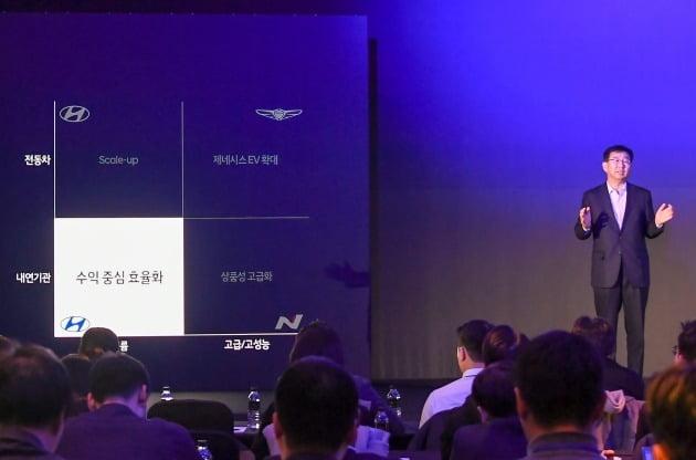 현대차는 4일 여의도 콘래드 서울 호텔에서 'CEO 인베스터 데이'를 개최하고 주주, 애널리스트, 신용평가사 담당자 등을 대상으로 '2025 전략'과 중장기 '3대 핵심 재무 목표'를 공개했다. 사진은 이원희 사장이 발표하는 모습. [사진=현대자동차 제공]