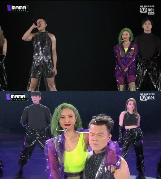 '2019 MAMA' 박진영X화사 /사진=Mnet 방송화면 캡처