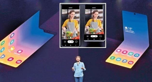 <접으면 주머니에 쏙…내년 상반기에 출시> 정혜순 삼성전자 무선사업부 프레임워크개발그룹 상무가 지난 10월 29일(현지시간) 미국 새너제이컨벤션센터에서 열린 '삼성 개발자 콘퍼런스 2019'에서 새로운 폴더블폰을 소개하고 있다. 가운데 사진은 폴더블폰 작동 모습. 삼성전자 제공