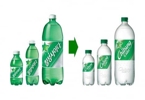25일부터 칠성사이다 페트병 제품이 초록색(좌)에서 투명색으로 전면 교체된다.   롯데칠성음료 제공