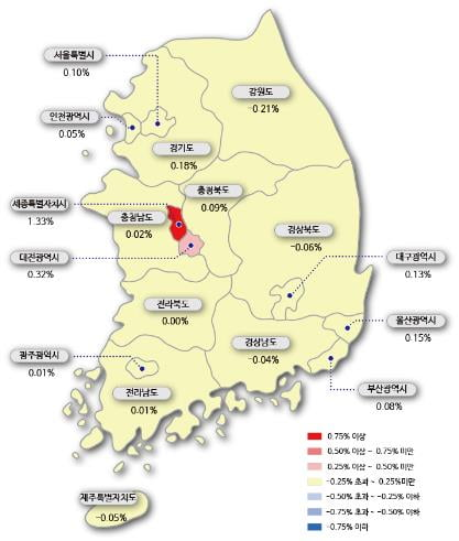 시도별 아파트 매매가격지수 변동률/사진=한국감정원