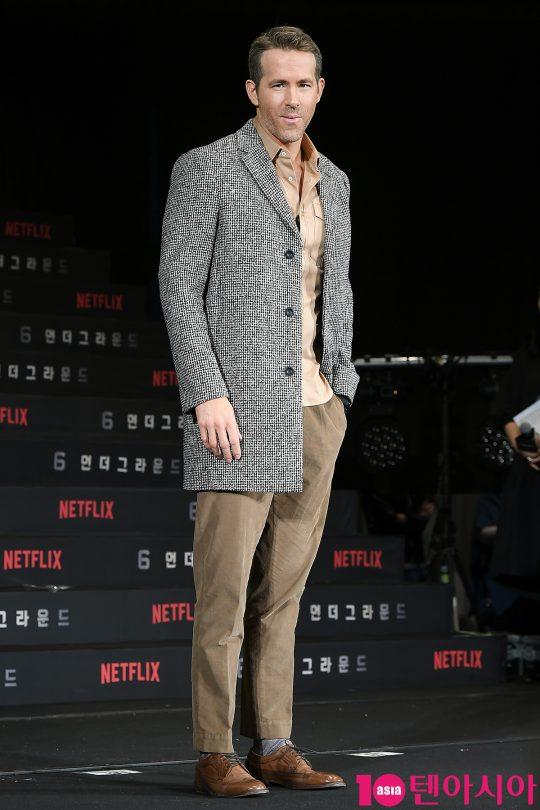 배우 라이언 레이놀즈가 21일 오전 서울 새문안로 포시즌스호텔에서 열린 넷플릭스 영화 '6 언더그라운드' 내한 기자회견에 참석했다./ 이승현 기자 lsh87@