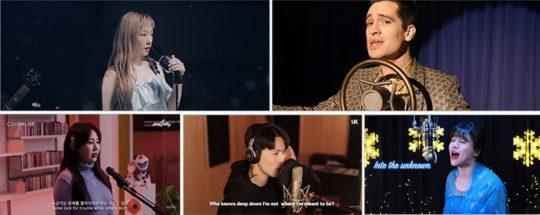 '겨울왕국' OST 커버./ 사진제공=DisneyMusicVEVO, 뮤플리, 이혁, 버블디아 유튜브