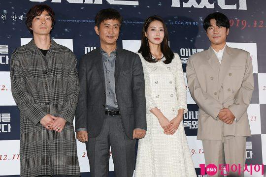 김하라 감독(왼쪽부터)과 배우 안내상, 왕지혜, 이시언이 5일 오후 서울 한강로 CGV용산아이파크몰에서 열린 영화 '아내를 죽였다' 언론배급시사회에 참석했다. /이승현 기자 lsh87@