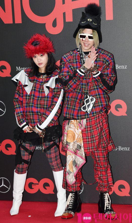 래퍼 릴체리&지토모가 5일 오후 서울 장충동 남산 제이그랜하우스에서 열린 '2019 지큐 나이트' 기념행사에 참석하고 있다.