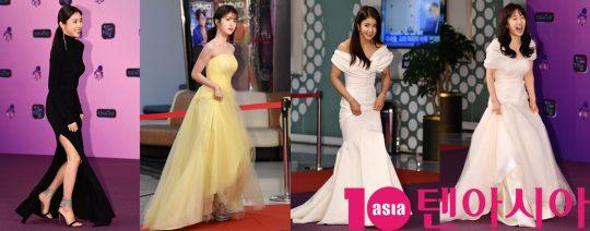 손담비,신예은,이시영,이혜성(왼쪽부터)이 21일 오후 서울 여의도동 KBS본관에서 열린 '2019 KBS 연예대상' 레드카펫 행사에 참석하고 있다.