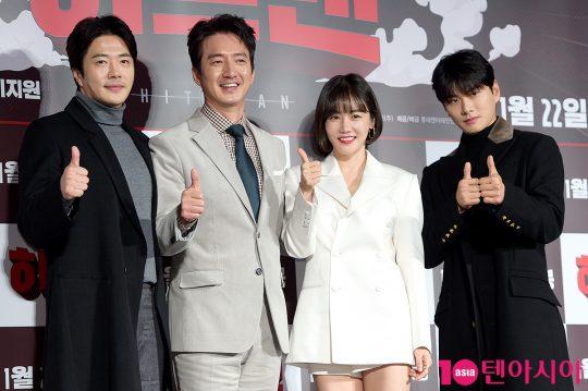영화 '히트맨'의 주역인 배우 권상우(왼쪽부터), 정준호, 황우슬혜, 이이경./ 서예진 기자 yejin@