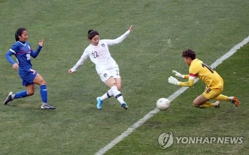 '강채림 2골' 여자축구, 대만에 3-0 승리…일본과 우승 다툼