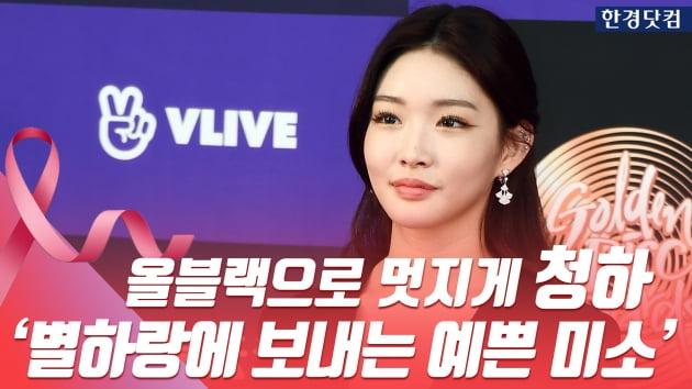 HK영상|청하, 올블랙으로 시크하게…'별하랑에 보내는 반전 미소~' (골든디스크)