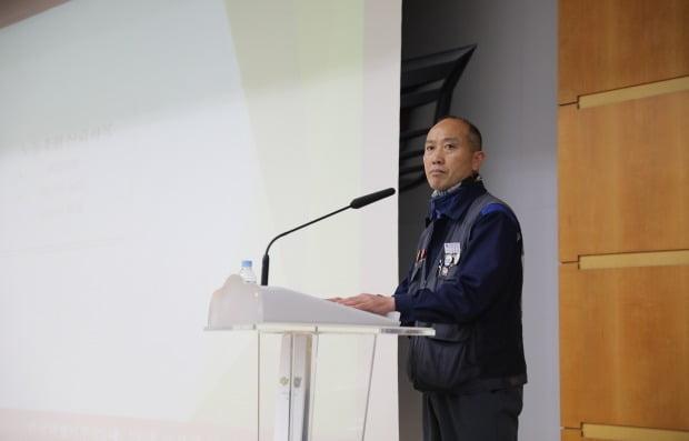 김성갑 한국GM 노조위원장이 지난 9일 취임식에서 인사말을 하고 있다. 사진=한국GM노동조합