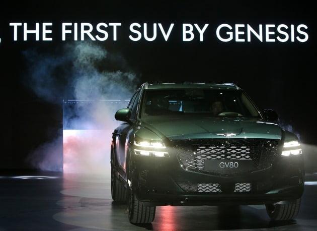 15일 경기도 고양시 킨텍스에서 열린 '제네시스 GV80 신차 발표회에서 GV80이 공개됐다. [사진=연합뉴스]