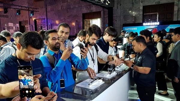 2017년 4월 인도 뉴델리에서 열린 삼성전자 갤럭시 시리즈 미디어 행사장의 모습 <삼성전자 제공>