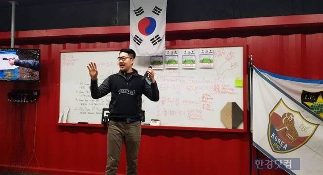 한국인으로는 유일하게 세계 스포츠 사격대회에서 상위권 수상을 휩쓸고 있는 김환식 선수. 최근 한국에서 공개 강의를 열었다. (사진 김하나 기자)