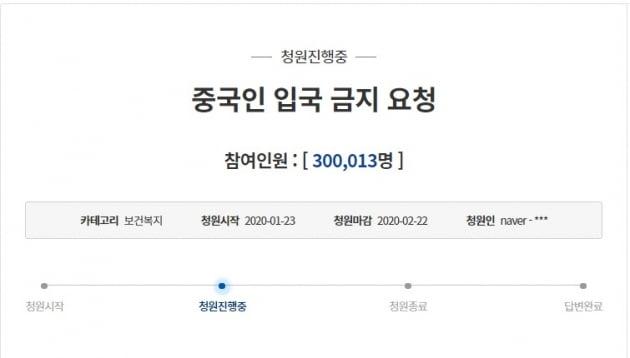 중국인 입국 금지를 요청하는 청와대 국민청원 참여자가 30만명을 돌파했다. (사진 = 청와대 국민청원 홈페이지 캡처)