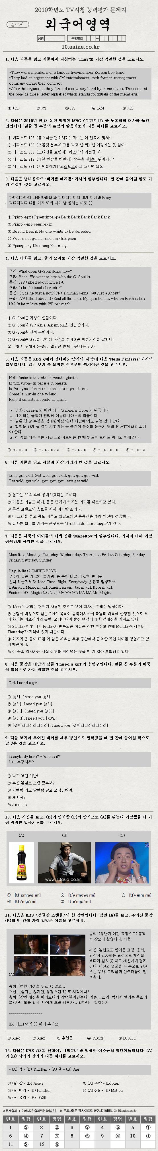 TV시청 능력평가│4교시 외국어영역