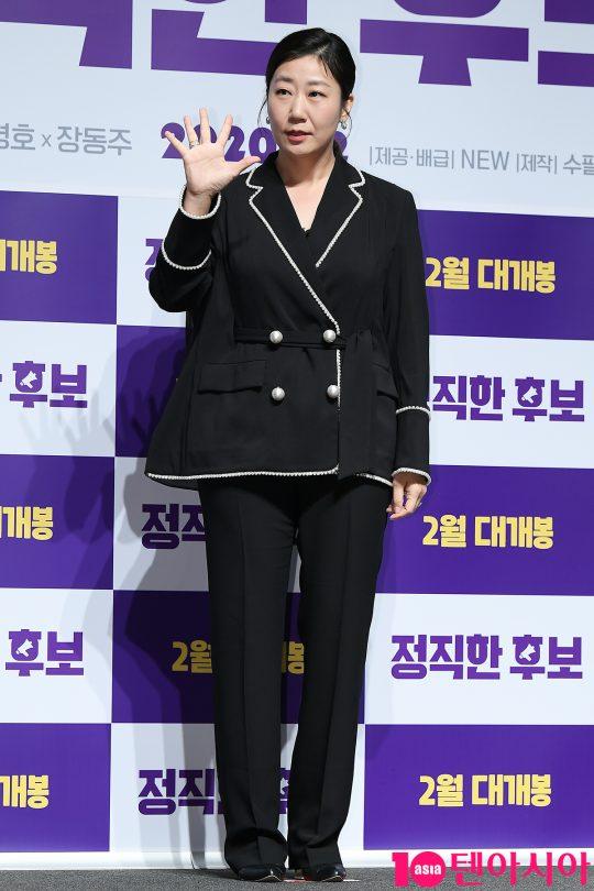영화 '정직한 후보'에서 하루아침에 거짓말을 못하게 된 뻥쟁이 국회의원 주상숙을 연기한 배우 라미란./ 이승현 기자 lsh87@