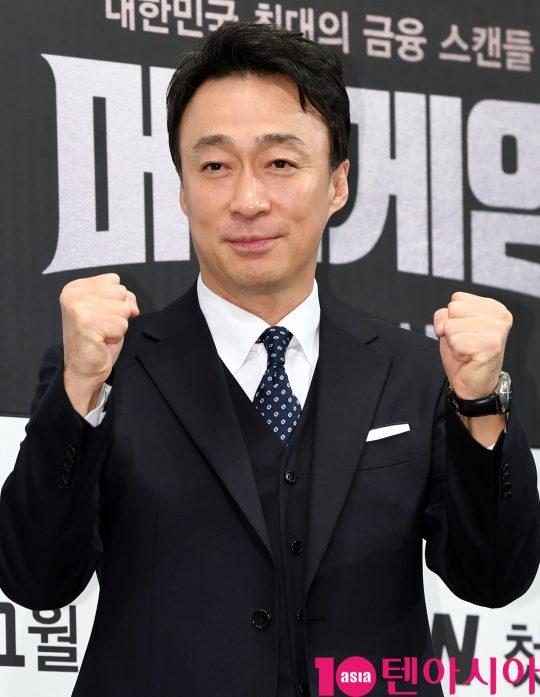 배우 이성민이 8일 오후 서울 강남구 논현동 임피리얼 팰리스 호텔에서 열린 tvN 새 수목드라마 '머니게임' 제작발표회에 참석하고 있다.