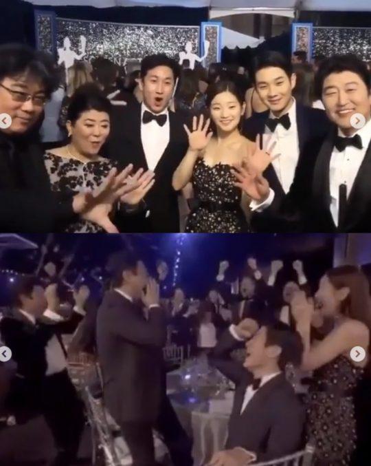 """""""우리팀 사랑합니다""""...박소담, '기생충' 앙상블상 환희의 순간 공개"""