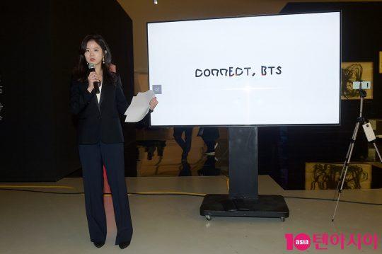 28일 서울 중구 동대문디자인플라자(DDP) 배움터 디자인전시관에서 열린 글로벌 현대미술 프로젝트 ' 커넥트, 비티에스(CONNECT, BTS)'의 전시회에 참석한 강이연 작가. / 서예진 기자 yejin@