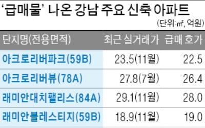 강남권 신축 아파트도 급매물, 12·16 효과…1억 안팎 떨어져