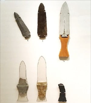 제주도 삼화지구에서 출토된 청동기시대의 간돌칼.