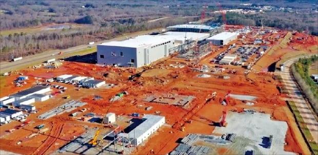 SK이노베이션이 미국 조지아주에 짓고 있는 전기차 배터리 1공장. 공정률은 28%다.  SK이노베이션 제공