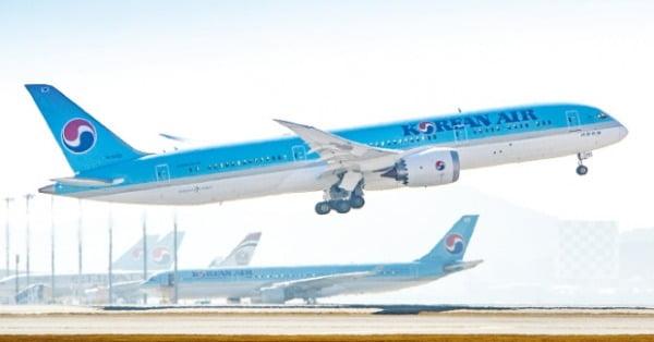 대한항공이 꾸준히 도입하고 있는 첨단 비행기 보잉 787-9.  대한항공 제공