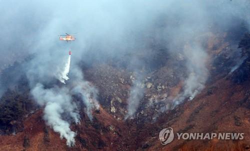 춘천 신북읍 야산 산불 하루 만에 진화…임야 등 7㏊ 소실
