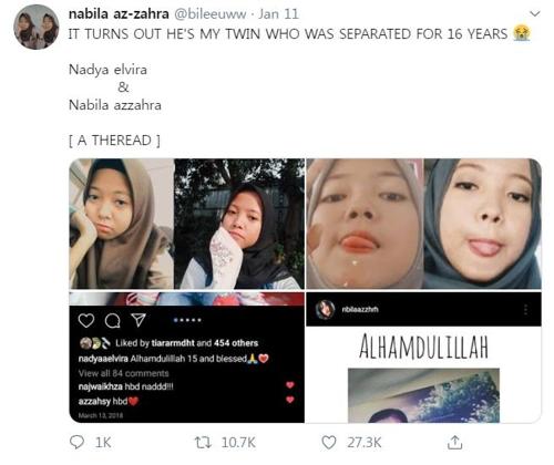 'SNS의 기적' 인니 쌍둥이 자매, 16년 만에 트위터로 상봉(종합)