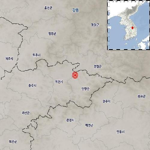 """기상청 """"충북 제천 동남동쪽서 규모 2.1 지진 발생"""""""