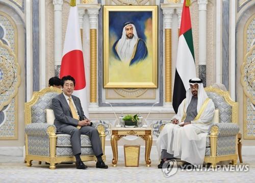 아베, UAE 방문…원유안정 공급·자위대 파견 이해 요청(종합)