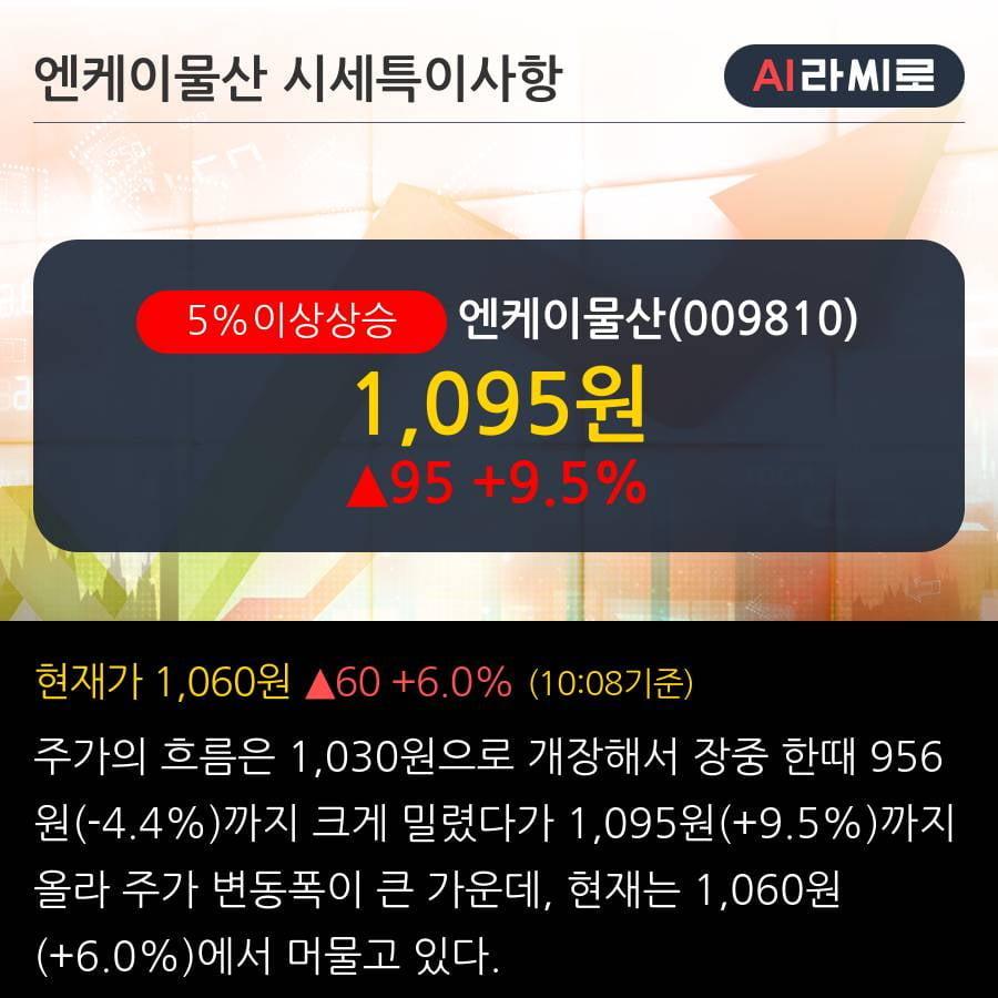 '엔케이물산' 5% 이상 상승, 외국인, 기관 각각 5일, 5일 연속 순매수