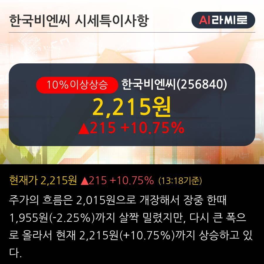 '한국비엔씨' 10% 이상 상승, 전일 외국인 대량 순매수