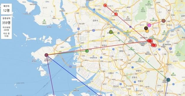 코로나 맵 /사진=코로나 맵 사이트 캡처