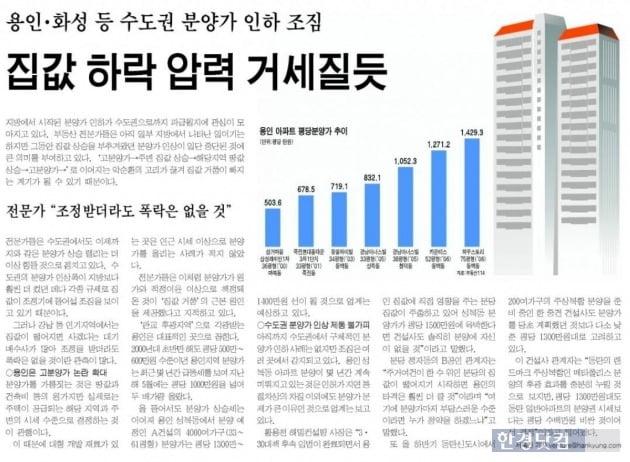 한국경제신문 2006년 5월18일 기사. 전문가의 말처럼 버블세븐 지역에서 용인을 제외하고는 폭락없이 상승세를 이어왔다. (자료 한경DB)