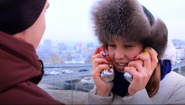 러시아 현지 영화관에서 나온 레쓰비 광고 영상. (사진 = 롯데칠성음료)