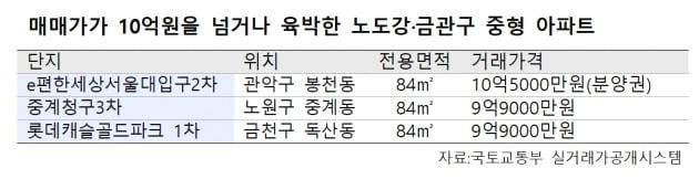 서울 외곽도 집값 상승세 '뚜렷'…노도강·금관구, 전용 84㎡ 잇따라 10억 '돌파'
