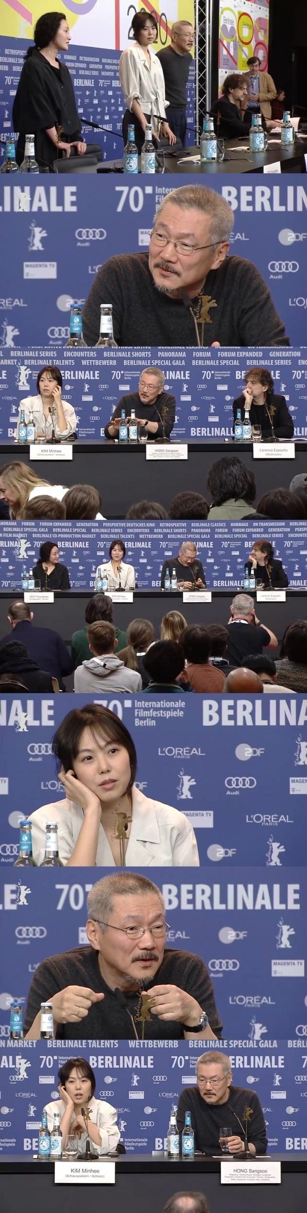 홍상수 감독과 배우 김민희, 서영화가 지난 25일(현지시간) 베를린영화제에서 열린 영화 '도망친 여자'의 공식 포토콜과 기자회견에 참석했다.