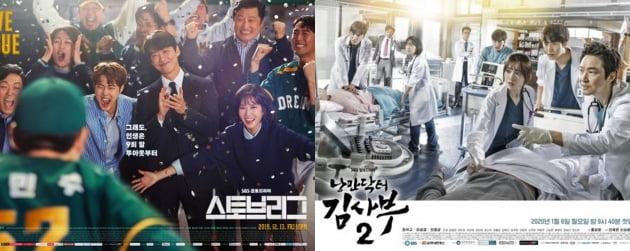 SBS 드라마 '스토브리그'(왼쪽), '낭만닥터 김사부2' 포스터. /사진제공=SBS