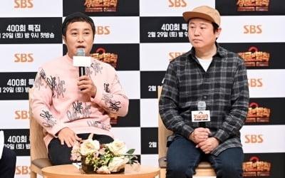 개그맨 김병만(왼쪽), 김진호 PD가 28일 오후 서울 목동 SBS홀에서 열린 SBS 예능 '정글의 법칙' 400회 기념 기자간담회에 참석해 인터뷰를 하고 있다. /사진제공=SBS