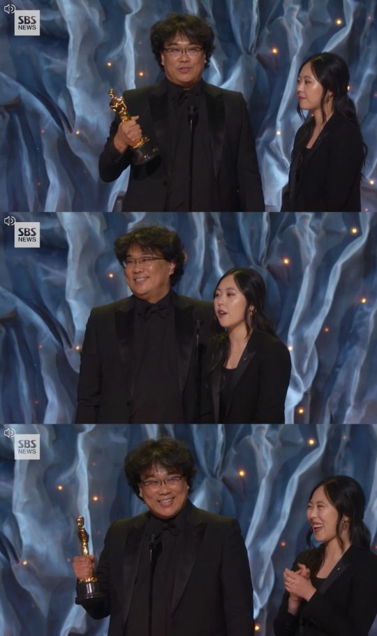 영화 '기생충'의 해외 시상식 참석마다 통역을 담당해온 샤론 최. /사진=SBS 방송 화면 캡처